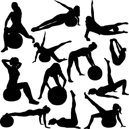 gym workout: mujeres pilates siluetas - vector 1
