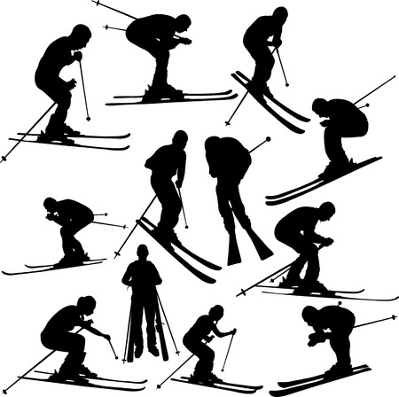 skiing collection - vector