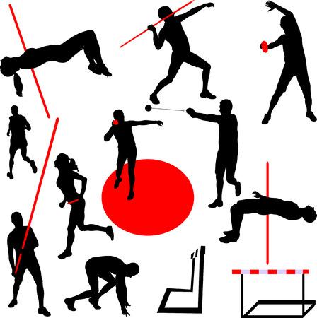 lanzamiento de disco: atlético de recogida - vector Vectores