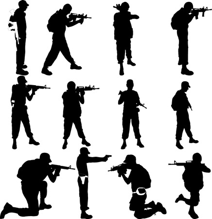 Army soldiers silhouette vector collection