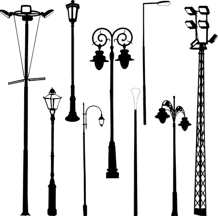 streetlight: street and garden lamps vector