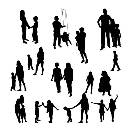 Children and people silhouettes Vector