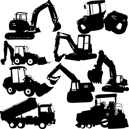 excavator silhouette collection