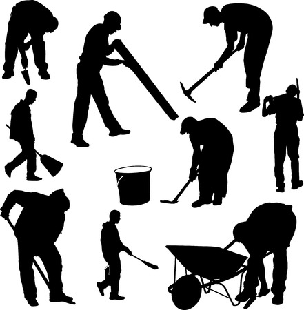 hard working man: workers silhouettes - vector