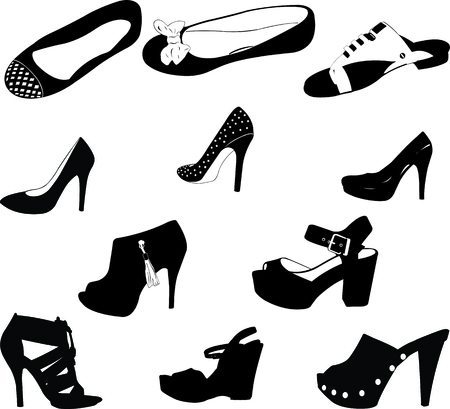 high heels woman: women shoes silhouettes  Illustration