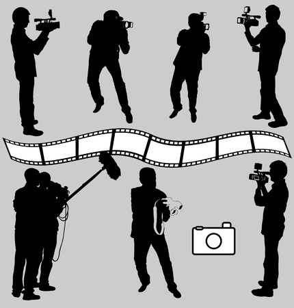cameraman and photographers silhouettes - vector Stock Illustratie