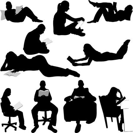silhouettes of people reading books Illustration