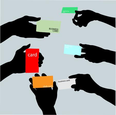 Hand holding blank business card Illustration
