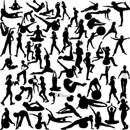 abdominal exercise: women  recreation(pilates-yoga-aerobic-running) Illustration