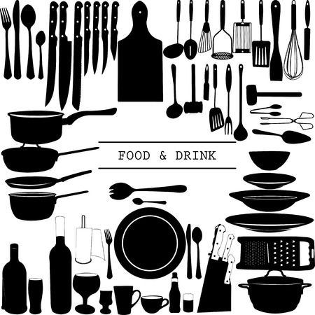 Food and Drink kitchen utensils isolated - vector Illustration