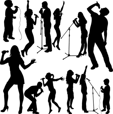 singer with microphone: singers silhouette set vector