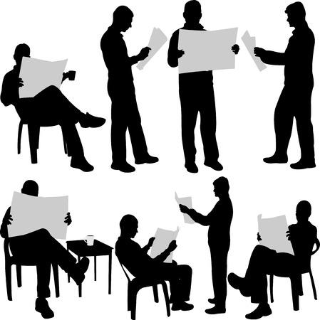 Man lezing krant silhouetten Stockfoto - 34596925