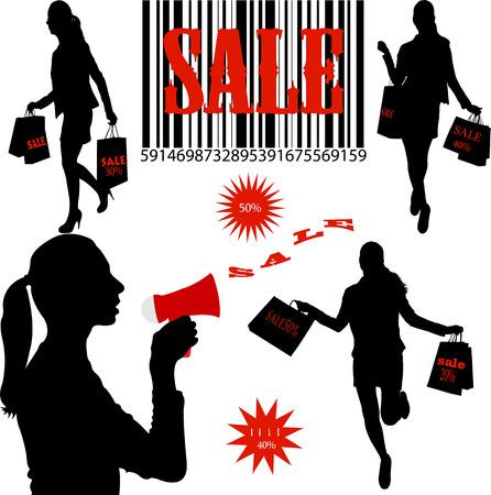 """Vrouwen die het winkelen met woord """"SALE"""" op hun tassen Stockfoto - 34632038"""