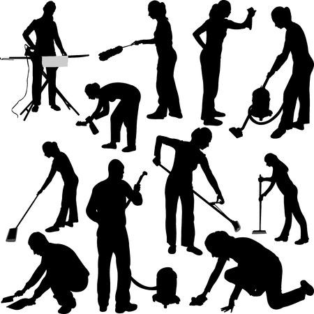 siluetas de mujeres: el hombre y la mujer de la limpieza en la casa - vector