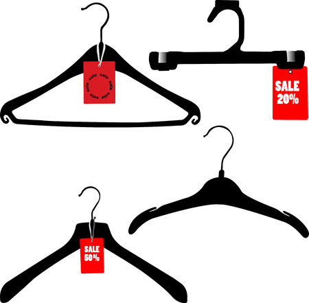 hangers with sale card - vector Illustration
