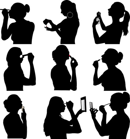 feminine hands: women make up silhouette - vector