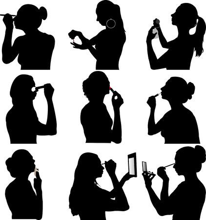 women make up silhouette - vector