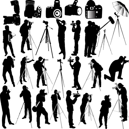 photographers and cameraman collection silhouettes - vector