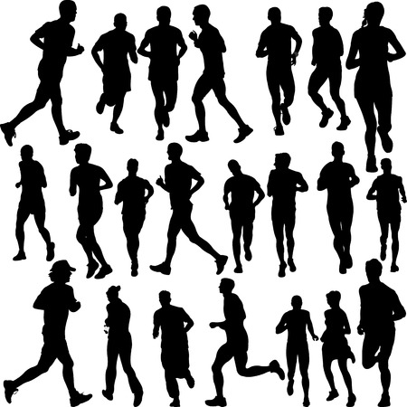 running people set vector Illustration