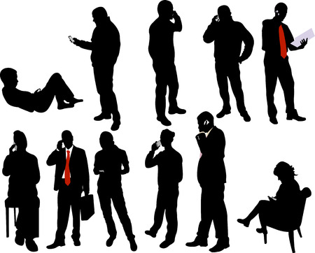 people silhouettes with phone