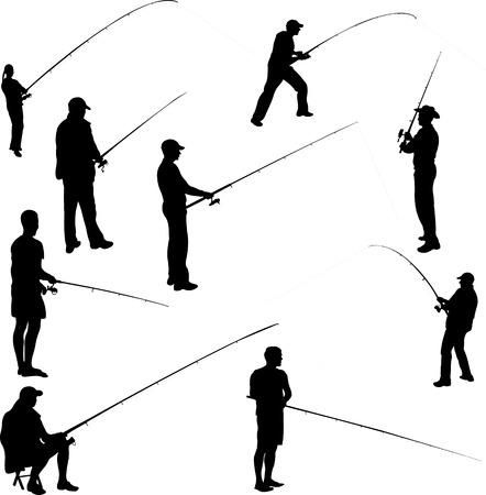 fishing line: fishermen and fishing 1 - vector