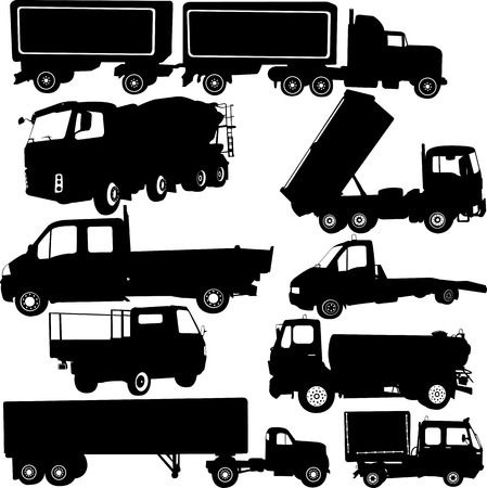 haulage: tracks collection silhouettes - vector Illustration