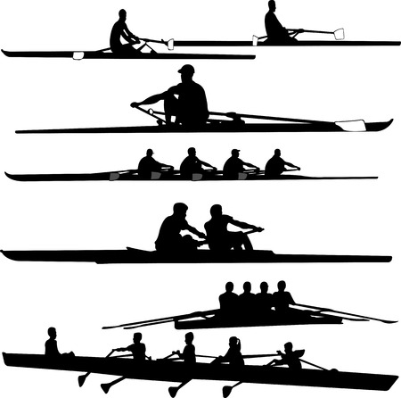 rowing boat: rowing collection silhouettes - vector Illustration