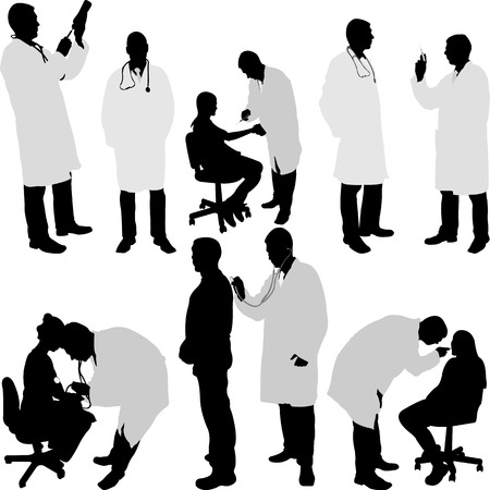 hospital staff: doctor and patient silhouette - vector illustration
