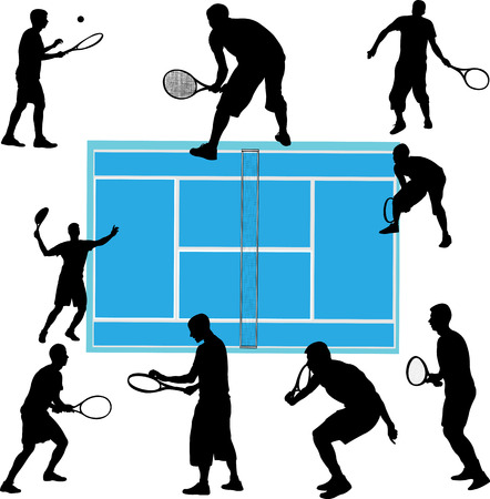 tennis players collection - vector Illustration