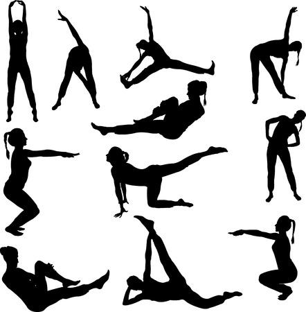 aerobics girl collection - vector Illustration