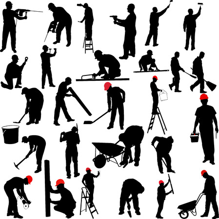 industrial construction: construction workers silhouettes collection - vector