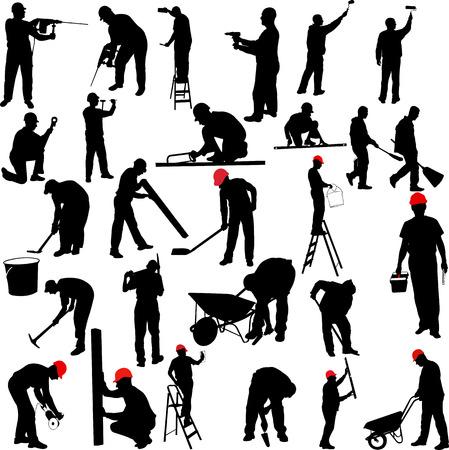 menuisier: travailleurs de la construction silhouettes collection - vecteur Illustration