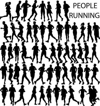motions: people running big collection - vector