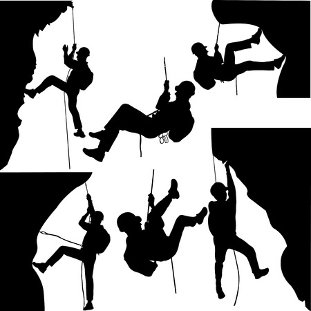 hard rock: rock climbers silhouette collection - vector