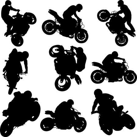 motorbike riders and motorcycles silhouettes