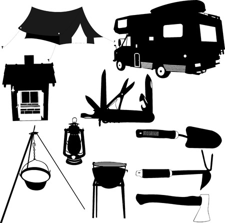 sleeping bags: camping equipment silhouettes - vector Illustration