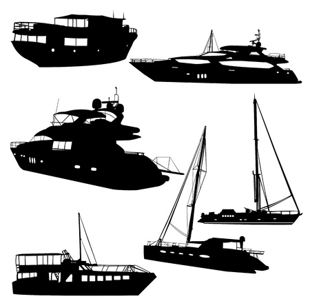 motor yacht: motor yacht collection - vector Illustration