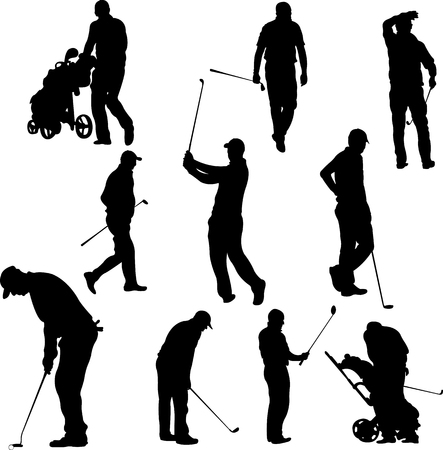 golfer: Golf players and equipment silhouettes - vector