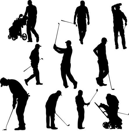 hombre con sombrero: Los jugadores de golf y el equipo siluetas - vector