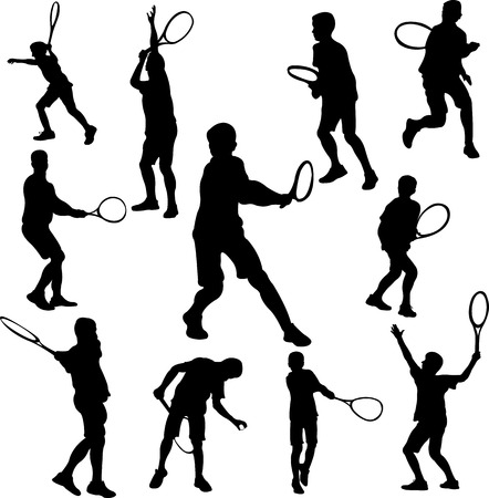 backhand: tennis player collection 1 - vector Illustration