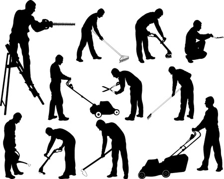 mower: gardening work silhouettes - vector Illustration
