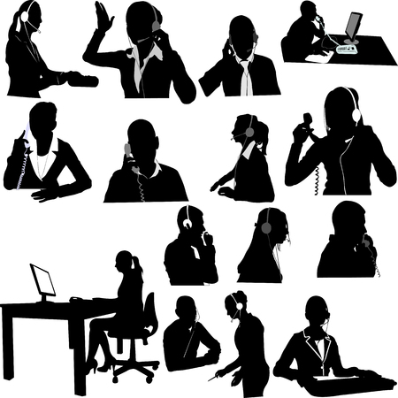 talking phone: secretary and call center operator collection - vector