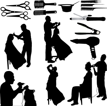 hairdresser and client - vector Ilustrace