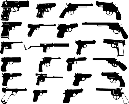 Guns silhouettes collection - vector Ilustrace