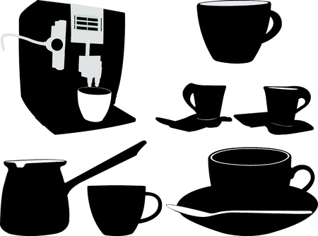 coffee silhouette - vector Stock Illustratie