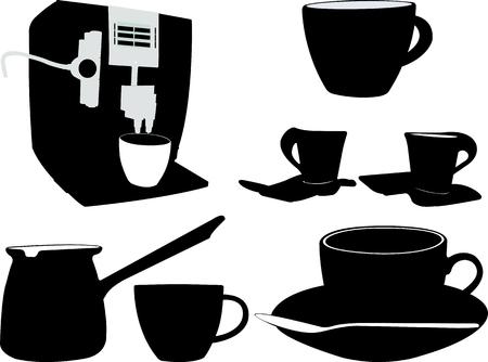 coffee silhouette - vector Ilustrace