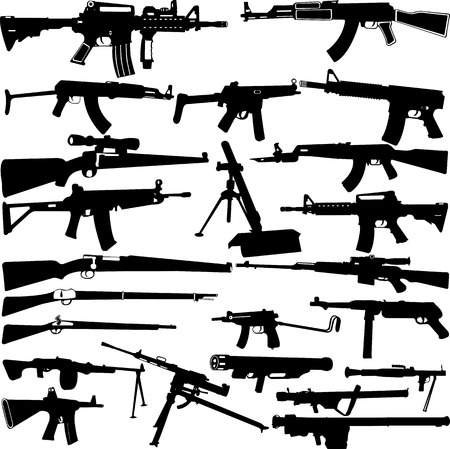 barrel bomb: Weapon silhouettes collection - vector Illustration