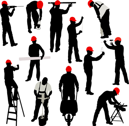 contractor: construction workers silhouettes collection - vector