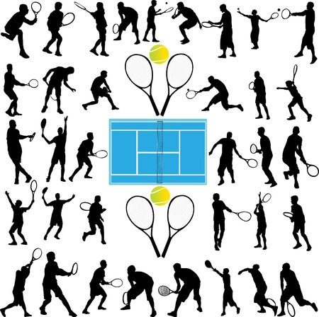 tennis spelers grote collectie - vector Stock Illustratie