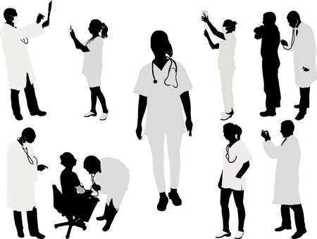 black professional: doctor and patient silhouette - vector illustration 1